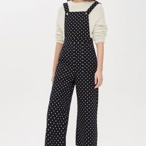 Topshop Spot Cropped Denim Jumpsuit